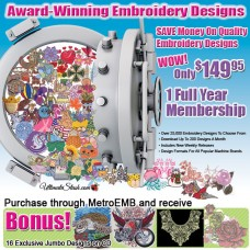 1 Year Subscription to Download up to 200 Designs Each Month Over 25,000 available