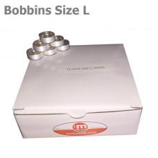 """Plastic Size L bobbins """"White"""" 144 units per box"""