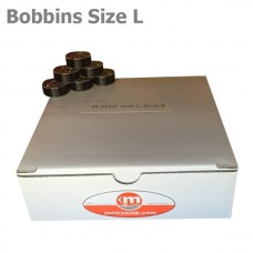"""Plastic Size L bobbins """"Black"""" 144 units per box"""