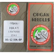 10 ORGAN NEEDLES FLAT SHANK 80/12 BALL POINT