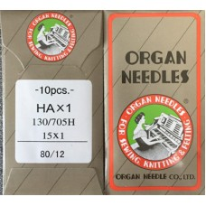 10 ORGAN NEEDLES FLAT SHANK 80/12 SHARP POINT