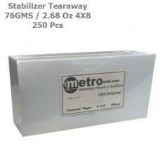 Tearaway Stabilizer 4X8 76 Grams 2.68 oz. 250Pc
